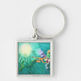 Mermaids Beautiful Sea Garden Silver-Colored Square Keychain