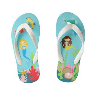 Mermaids Blonde & Brunette Undersea Life Kid's Flip Flops