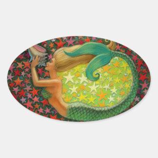 Mermaid's Circle Fantasy Mermaid Art Oval Sticker