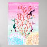 Mermaids' Coral Garden childrens' illustration Poster