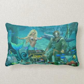 Mermaid's Coral Reef Treasure Lumbar Pillow