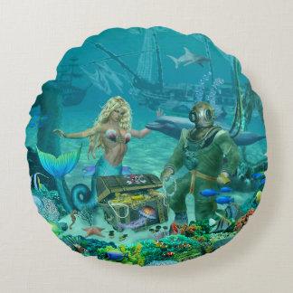 Mermaid's Coral Reef Treasure Round Pillow