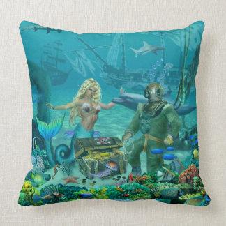 Mermaid's Coral Reef Treasure Throw Pillow