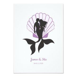 Mermaids Couple in Lillac Design Invitation