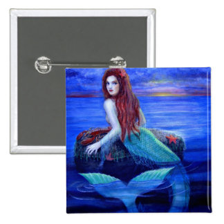 Mermaid's Dinner 2 Inch Square Button