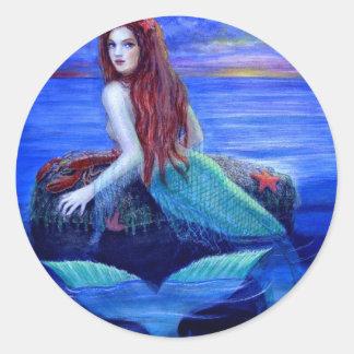 Mermaid's Dinner Classic Round Sticker