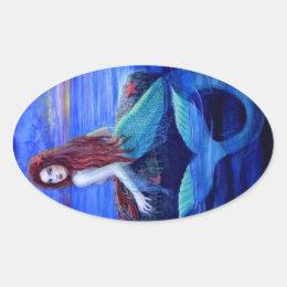 Mermaid's Dinner Oval Sticker