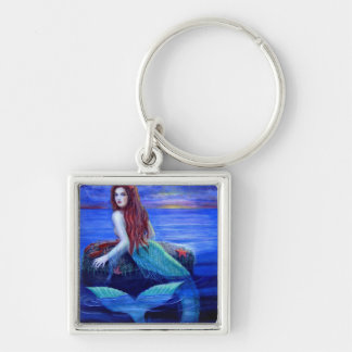 Mermaid's Dinner Silver-Colored Square Keychain