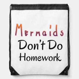 Mermaids Don't Do Homework Quote Drawstring Bag