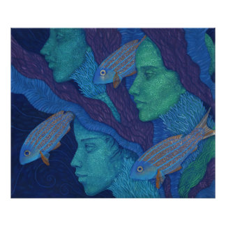 Mermaids & Fish, surreal fantasy art, underwater Poster