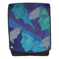 Mermaids & fish, underwater fantasy, nautical art backpack