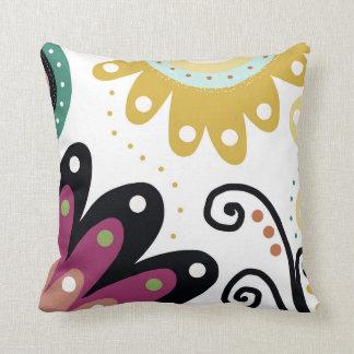 Mermaids Garden. Colourful floral print. Throw Pillow