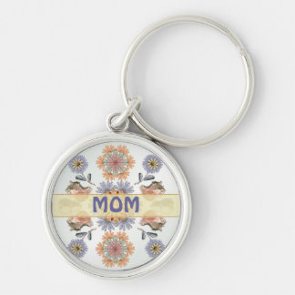 Mermaid's Garden Mom's Personalized Key Ring Silver-Colored Round Keychain