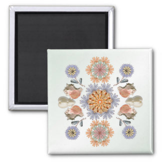 Mermaid's Garden Shell Art Design 2 Inch Square Magnet