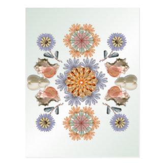Mermaid's Garden Unique Shell Art Design Postcard