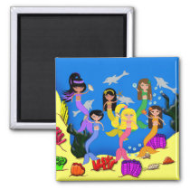 Mermaids in Ocean with Dolphins Magnet