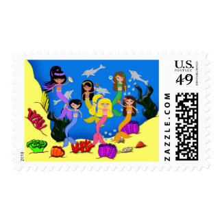 Mermaids in Ocean with Dolphins Postage