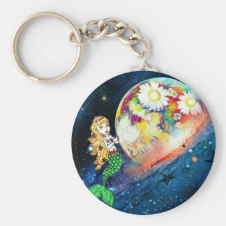Mermaids in space keychain