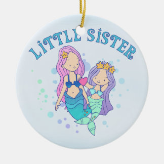 Mermaids Little Sister Double-Sided Ceramic Round Christmas Ornament