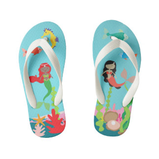 Mermaids Of Color Undersea Life Kid's Flip Flops