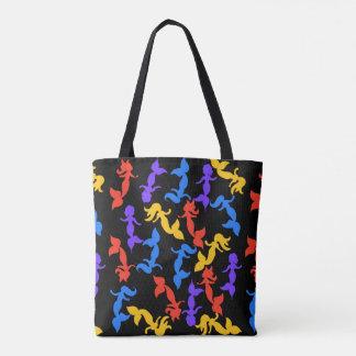 Mermaids pattern tote bag