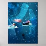 Mermaids racing in ocean kids' illustration poster