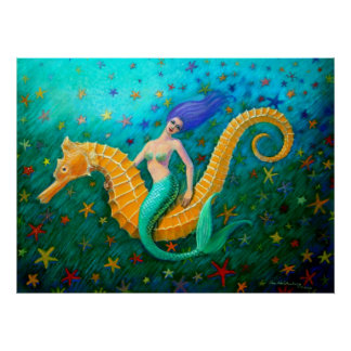 Mermaid's Ride- Magical Seahorse Poster