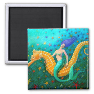 Mermaid's Ride- Seahorse 2 Inch Square Magnet