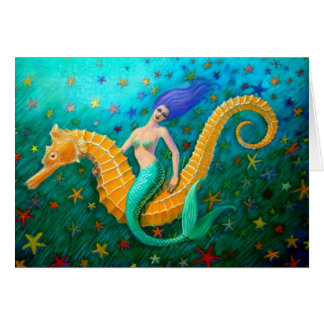 Mermaid's Ride- Seahorse Greeting Card