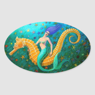 Mermaid's Ride- Seahorse Oval Sticker