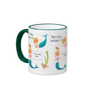 Mermaids Ringer Mug to Personalise mug