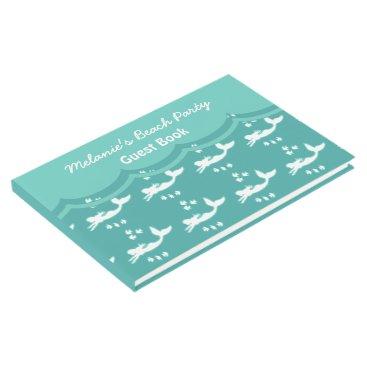 Beach Themed Mermaids Sea Green Beach Party Custom Guest Book