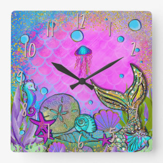 Mermaids & Sea Shells Pink Sparkly Sparkles Square Wall Clock