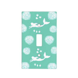 Mermaids & Seashells Teal Light Switch Cover