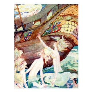 Mermaids Sisters and Ship Postcard