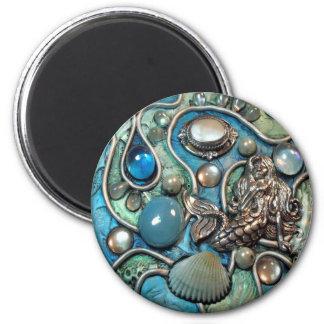 Mermaid's Treasure 2 2 Inch Round Magnet