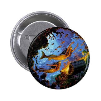Mermaids Treasure Of Gold 2 Inch Round Button
