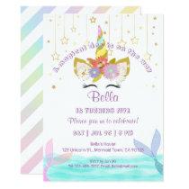 Mermaids Unicorn Rainbow Birthday Cards