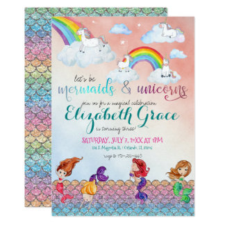 Mermaids, Unicorns & Rainbows Party Invitations