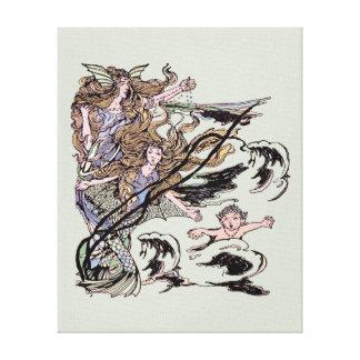 Mermaids Vintage Victorian Illustration Gallery Wrap Canvas