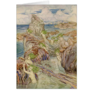 Mermaids with Sea Green Hair Greeting Cards