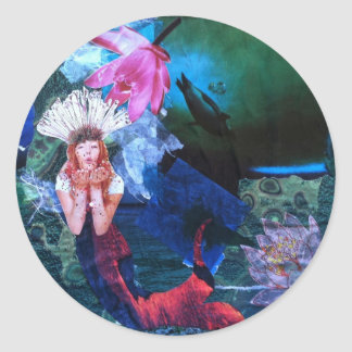 Mermaig Goddess Art Collage With Penguins Classic Round Sticker