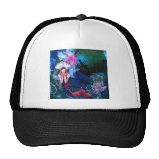 Mermaig Goddess Art Collage With Penguins Mesh Hats
