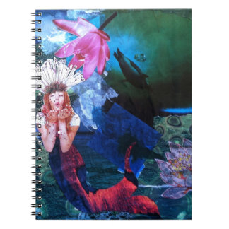 Mermaig Goddess Art Collage With Penguins Notebook
