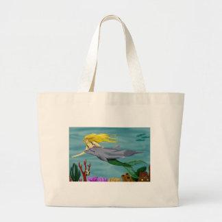 Mermain beachbag large tote bag