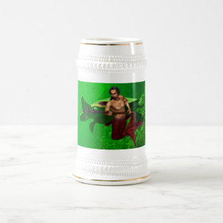 Merman con la cerveza Stein de la tortuga de mar Jarra De Cerveza