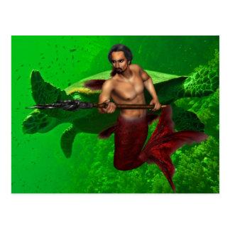Merman con la postal de la tortuga de mar
