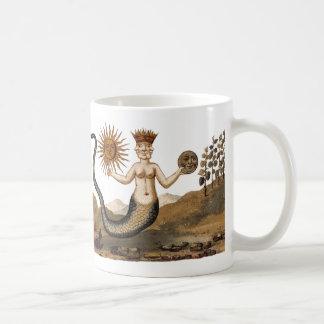 Merman con la taza de café del sol y de la luna de