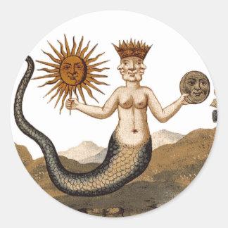 Merman medieval de la imagen de la alquimia con el pegatina redonda