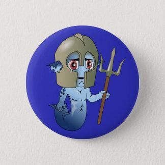 Merman Neptune's Warrior Pinback Button